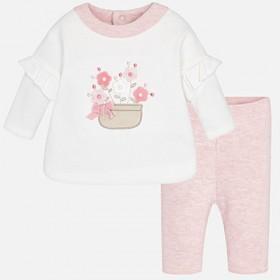 Σετ βελουτέ μπλούζα παντελόνι άσπρο ροζ